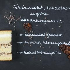 Fehérnugát, kakóbab-nugatin, madulatejmousse